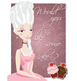 Poster with queen Marie Antoinette and cakes vector image