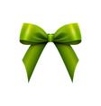 realistic shiny green satin bow isolated vector image