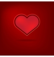 Red heart Valentines day card on red background vector image vector image