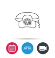 Retro phone icon Old telephone sign vector image vector image