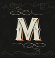 retro style western letter design letter m vector image