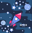 rocket flying in space planets and stars vector image