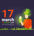 saint patricks day poster with man in leprechaun vector image vector image