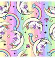 seamless pattern fantasy unicorn reading book vector image vector image