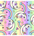seamless pattern of fantasy unicorn reading book vector image vector image