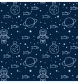 Seamless pattern with cat in space the Moon and vector image