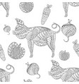 seamless pattern with ornated pigs and vegetables vector image vector image