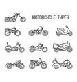 set different types mototechnics vector image