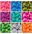 Set of camouflage fabric patterns - different colo vector image vector image