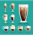 set of different transparent cups of coffee types vector image vector image