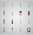 set of maquillage realistic symbols with lipstick vector image