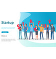 startup people holding letters website with text vector image