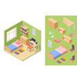 teenagers room isometric bedroom concept vector image