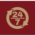 The 24 7 icon Open and assistance support symbol vector image