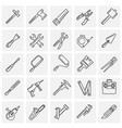 tools icons line set on squares background for vector image