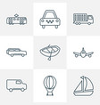 vehicle icons line style set with air balloon van vector image