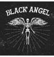 vintage label with black angel