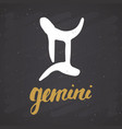 zodiac sign gemini and lettering hand drawn vector image