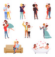 young men and women characters embracing dancing vector image