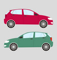 set of two isolated cars in flat style red and vector image