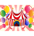 A red circus tent with colorful balloons vector image vector image