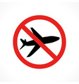 airplane flight stop sign vector image
