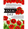 anzac day australian lest we forget poster vector image vector image
