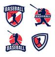 baseball player silhouettes vector image