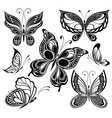 Black and white butterflies vector image vector image