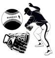 black baseball pitcher glove and ball vector image vector image