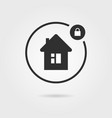 black locked house icon with shadow vector image