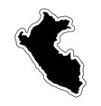 black silhouette of the country peru with the vector image vector image