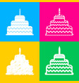 cake with candle sign four styles of icon on four vector image vector image