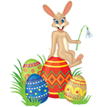 card with bunny and easter eggs vector image