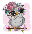 cartoon owl with flowers is sitting on a branch vector image vector image