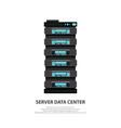 Cartoon server data center icon in flat style