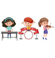 children play with music instrument vector image vector image
