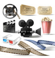 cinema clipart of 3d realistic objects vector image vector image