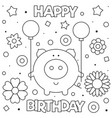 coloring page pig with vector image vector image