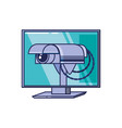 computer monitor with cctv camera vector image vector image