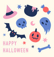 cute and funny halloween hand drawn symbols vector image