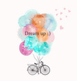 cute bicycle with colorful pink and blue balloons vector image