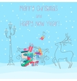 Deer near bench full of presents gifts Happy new vector image