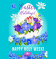 easter greeting paschal egg flowers poster vector image vector image