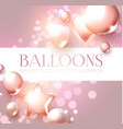 elegant pink flying balloons with bokeh effect vector image