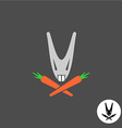 Evil rabbit head logo vector image