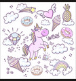fashion patch badges with donuts rainbow confetti vector image vector image