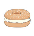 fresh bagel sandwich with cream cheese vector image vector image