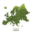 green leaf map of europe of a vector image vector image