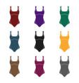 green swimsuit for women sporty swimsuit for vector image
